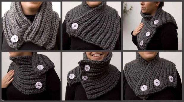 Cómo tejer un cuello de lana gruesa