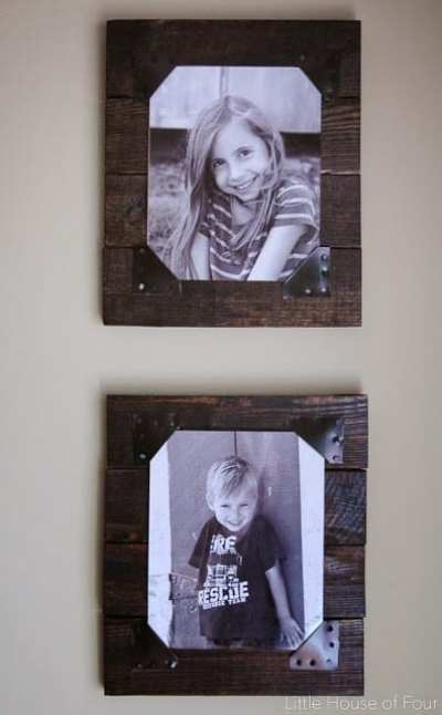fotos enmarcadas con madera de palet