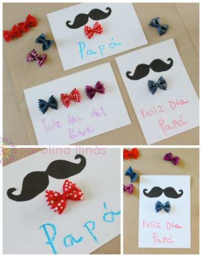 Tarjeta para el dia del padre con bigote y pajarita