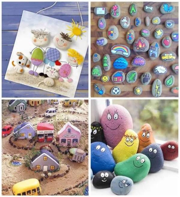 Varios modelos de piedras que pueden pintar los niños