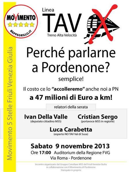 Read more about the article TAV, perchè parlarne a Pordenone? – Sabato 9 nov 2013