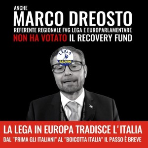 Read more about the article L'EURO PARLAMENTARE DELLA NOSTRA REGIONE MARCO DREOSTO E LA LEGA DANNO UNA PUGNALATA AL FUTURO DELL'ITALIA
