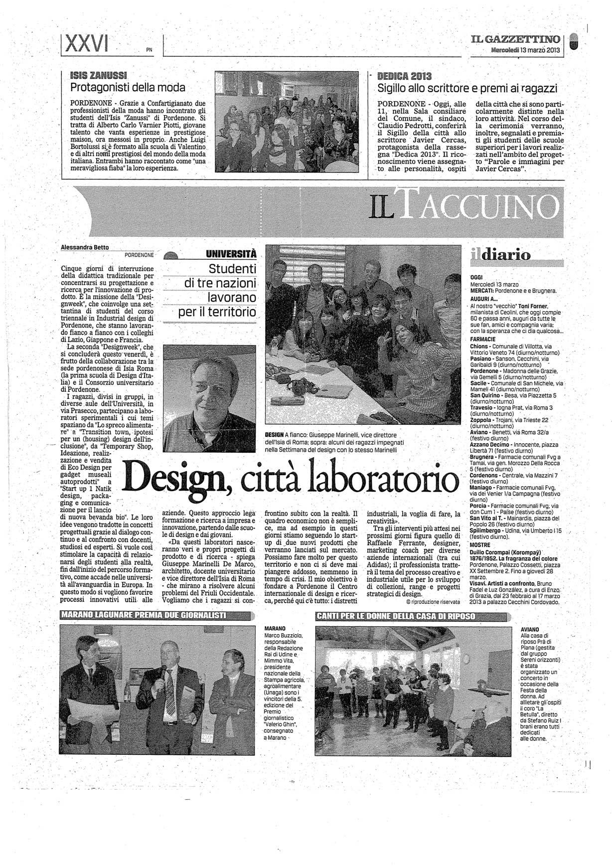 Design, città laboratorio - Il Gazzettino 13/03/2013Design