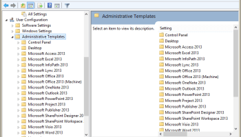 The group policy window with Office policy templates