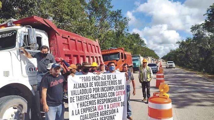 Volqueteros paran labores del Tren Maya por falta de pago en Valladolid |  PorEsto