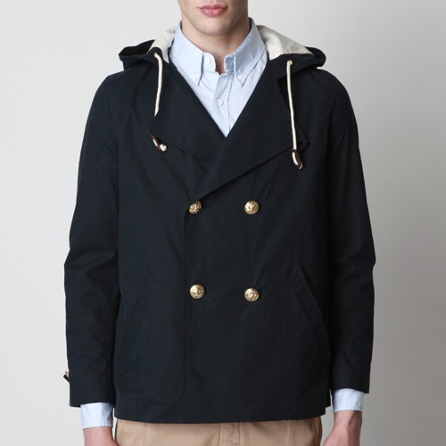 Band of Outsiders Hooded Double-Breasted Peacoat