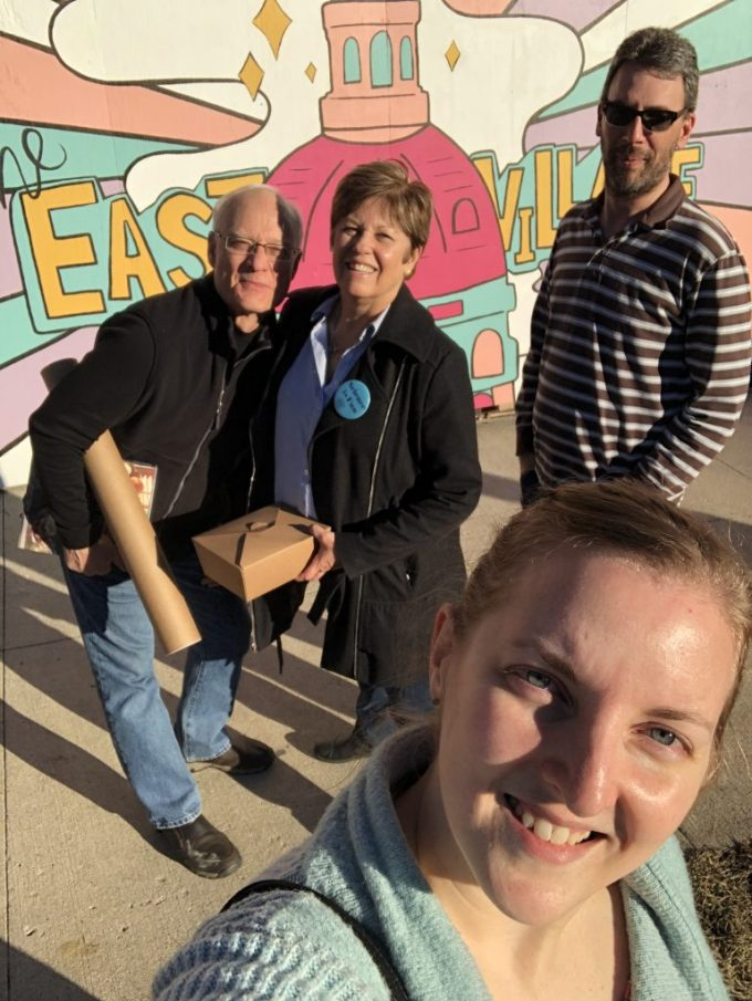 Dave, Renee, Jason and me in front of an East Village mural in Des Moines, Iowa