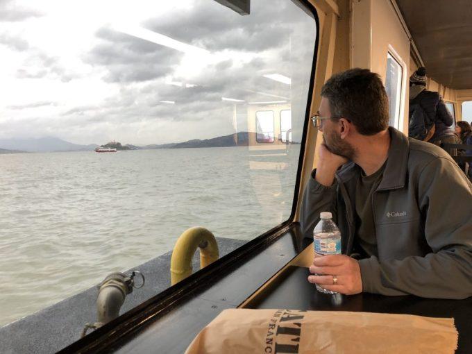 Jason on the ferry to Alcatraz
