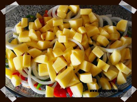 Preparamos las verduras cortadas