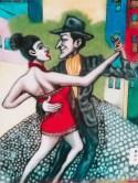 Dibujo de pareja bailando tango