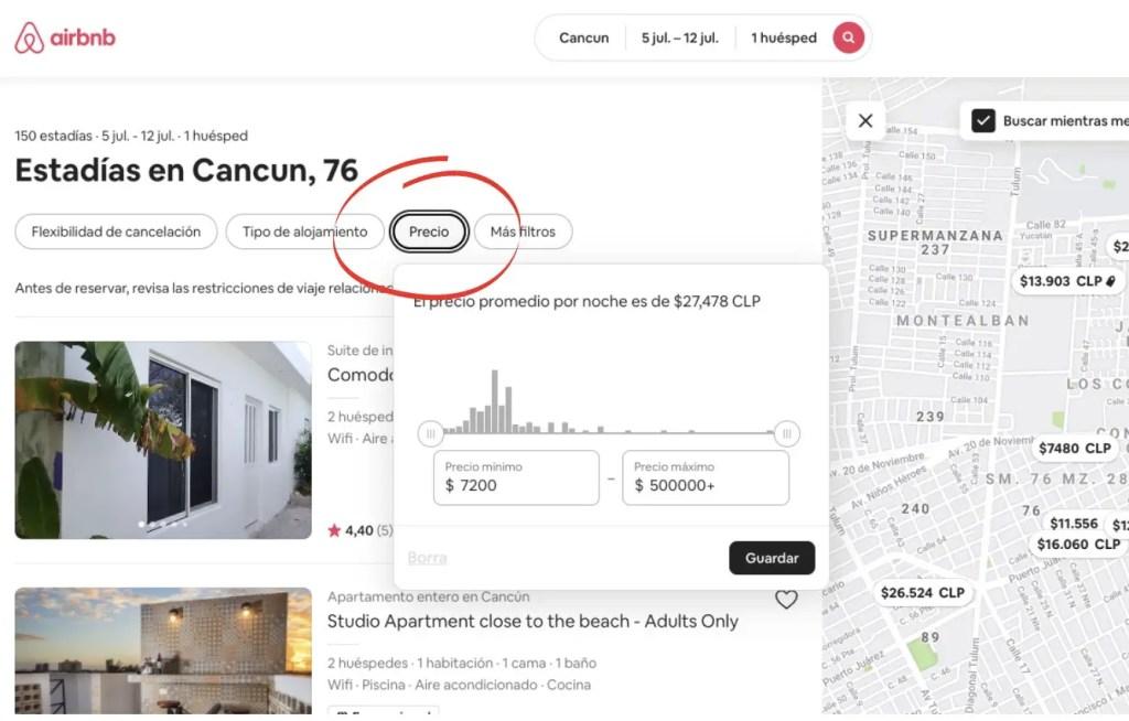 Filtrar precios en airbnb.