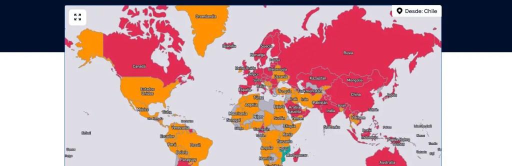 A dónde se puede viajar: Mapa de skyscanner.