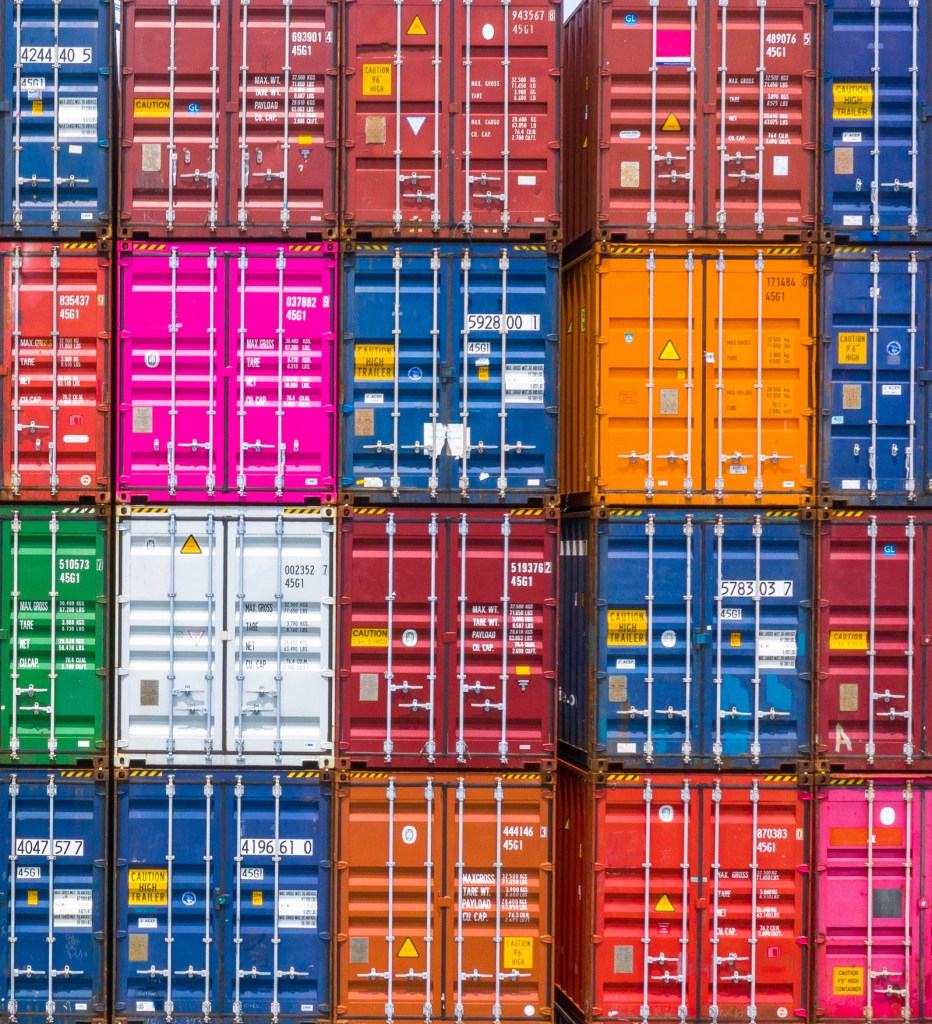 Containeruppställning i block