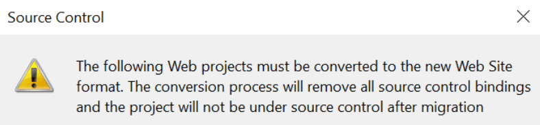 """The following Web projects must be converted"" error"