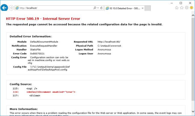 HTTP Error 500.19 scenario