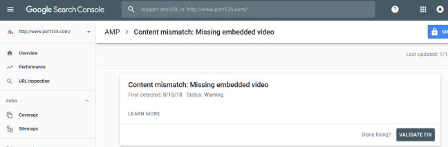 Content mismatch: Missing embedded video solve