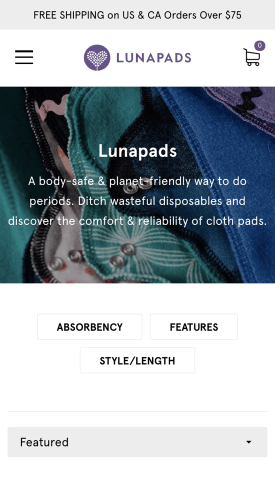Lunapads Shopify Plus Development