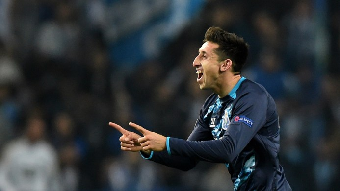 Porto's Mexican midfielder Hector Herrera celebrates after scoring a goal during the UEFA Champions League round of 16 second leg football match FC Porto vs FC Basel at the Dragao stadium in Porto on March 10, 2015.   AFP PHOTO/ FRANCISCO LEONG        (Photo credit should read FRANCISCO LEONG/AFP/Getty Images)