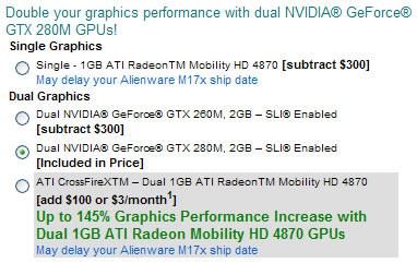 Option GPU Area-51 M17x Crossfire ATI Mobility Radeon HD 4870