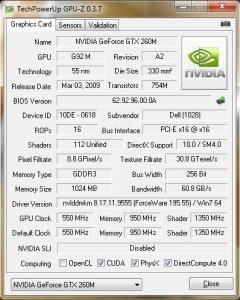 GPU-Z GeForce GTX 260M de l'Alienware Area-51 M15x