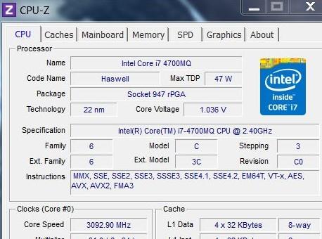 CPU-Z passe en version 1 67 - Portables4gamers