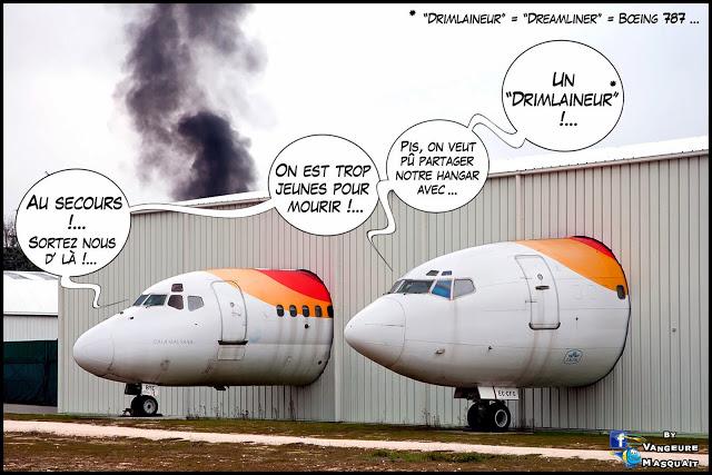 HUMOUR: le Boeing 787 Dreamliner sous le feu des projecteurs.