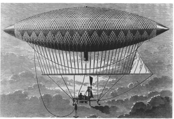 """Premier """"ballon dirigeable"""" à vapeur, construit en 1852 par Henri Giffard"""
