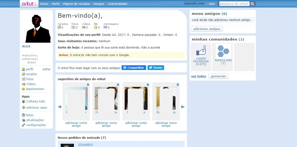 Perfil: Similaridades do Orkut.com e Orkut br