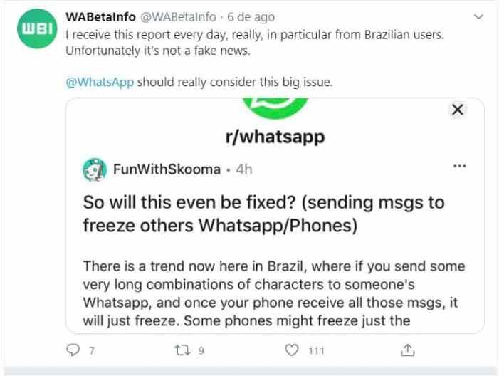 Capturar Atenção, está a circular código que 'congela' o WhatsApp