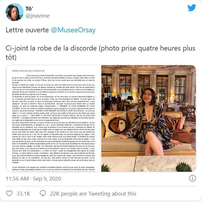 a1 Estudante foi barrada à porta do Museu de Orsay devido a decote