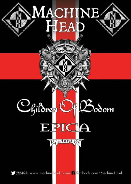 Pôster da turnê do Machine Head com o Children of Bodom, Epica e Battlecross