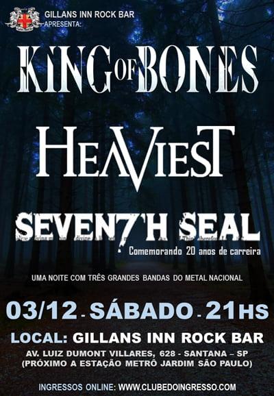 Heaviest: ingressos para show com King of Bones e Seventh Seal já estão à venda