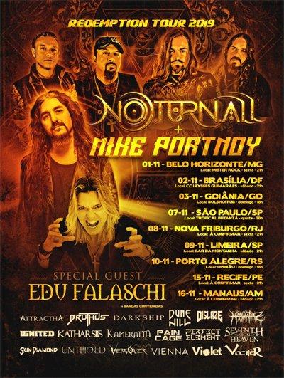 """Noturnall e Mike Portnoy anunciam datas da """"Redemption Tour"""" com Edu Falaschi e transmissões ao vivo"""
