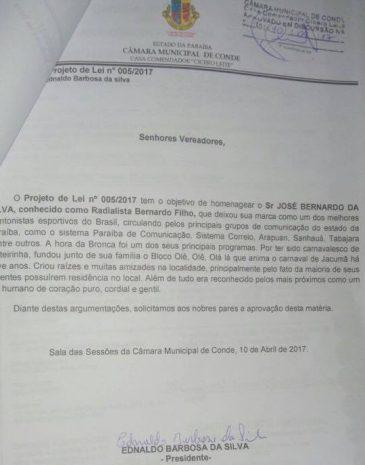 Câmara de Vereadores de Conde homenageia radialista Bernardo Filho