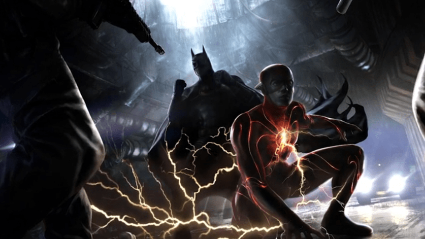 Flash de Ezra Miller e Batman de Michael Keaton