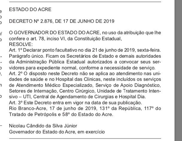 Nicolau Júnior decreta ponto facultativo nos órgãos públicos do Estado, na sexta-feira