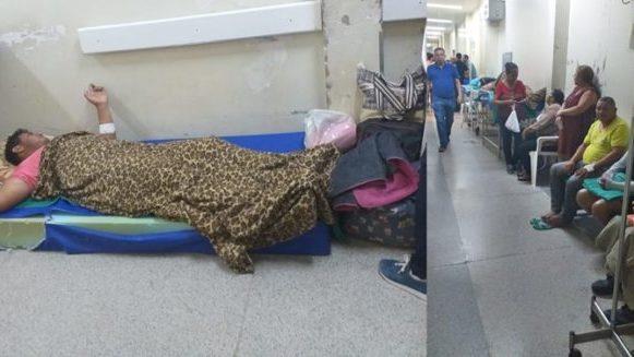 Sem leitos, pacientes aguardam atendimento deitados no chão e nos corredores do Pronto Socorro