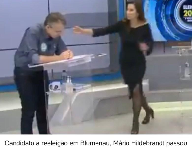 Candidato à reeleição em Blumenau passa mal durante debate; assista