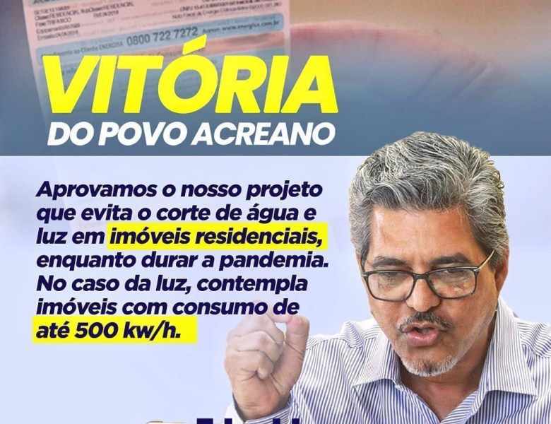 Deputados aprovam projeto de Edvaldo que proíbe o corte de luz e água durante a pandemia
