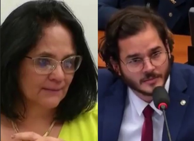 Ministra Damares Alves e Túlio Gadêlha em comissão na Câmara.