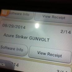 """3. Vá até o local onde mostrará Azure Striker Gunvolt e escolha a opção """"view receipt"""""""