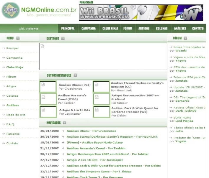 Junto ao fórum, a NGM Online também chegou a ter um site
