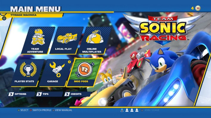 team sonic racing tela
