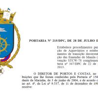 Portaria 215 da DPC - Marinheiros são contemplados com a regra II/5 e III/5