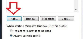 Restablecer Configuración de Microsoft Outlook en Windows - Agregar Perfil