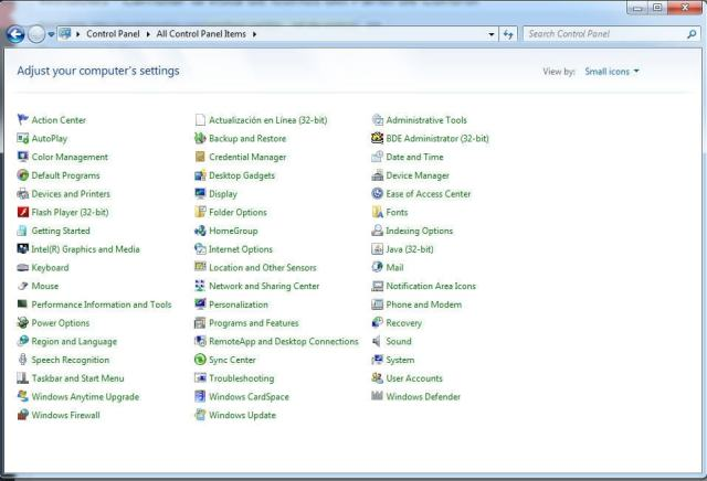 Cambiar la vista de iconos del Panel de Control - Windows 7 vista de iconos