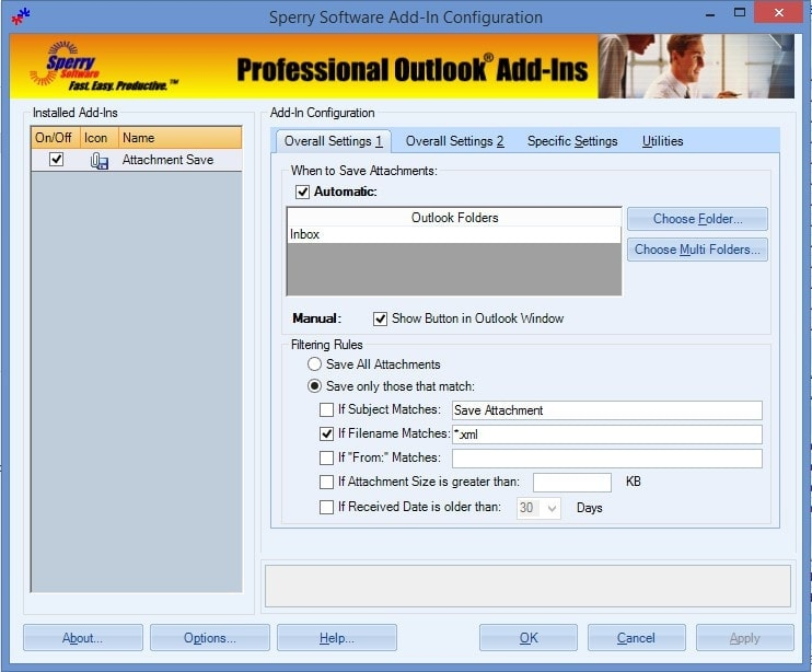 Attachment Save Add-In - Sperry Software - Outlook - Conf1