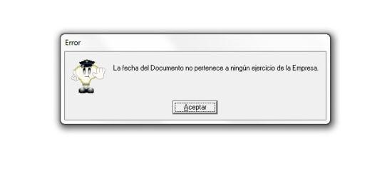 AdminPAQ La Fecha Del Documento No Pertenece A Ningun Ejercicio De La Empresa