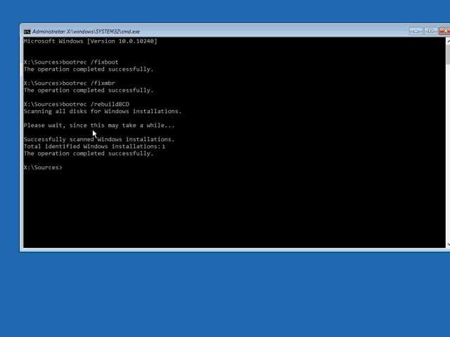8 windows 10 x64 bootmgr is missing bootrec