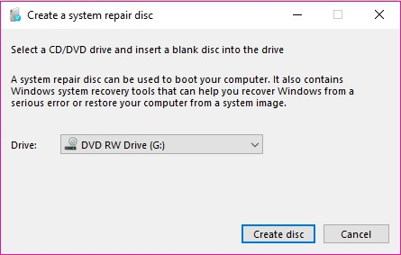 Windows 10 crear disco de reparacion grabar disco